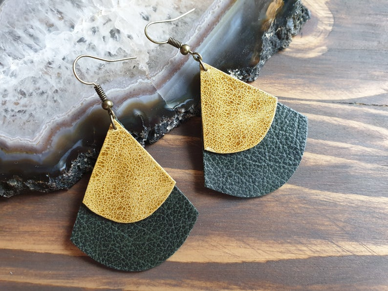 VickyBeeHandmade Geniune Leather Earrings £9.75