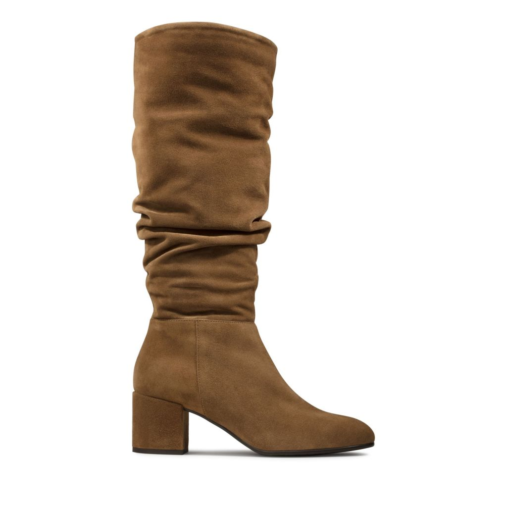 Clarks Sheer Slouch Cognac Suede Boots £150