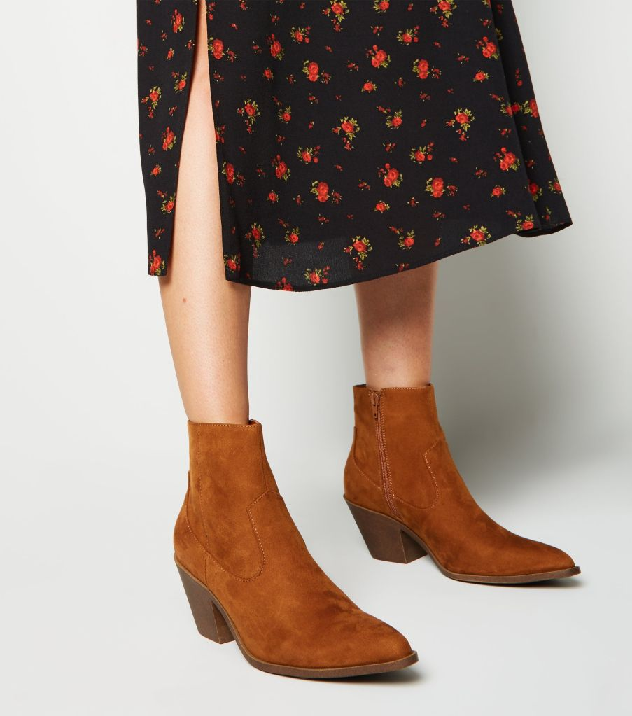 New Look tan-suedette-pointed-block-heel-boots £19.99
