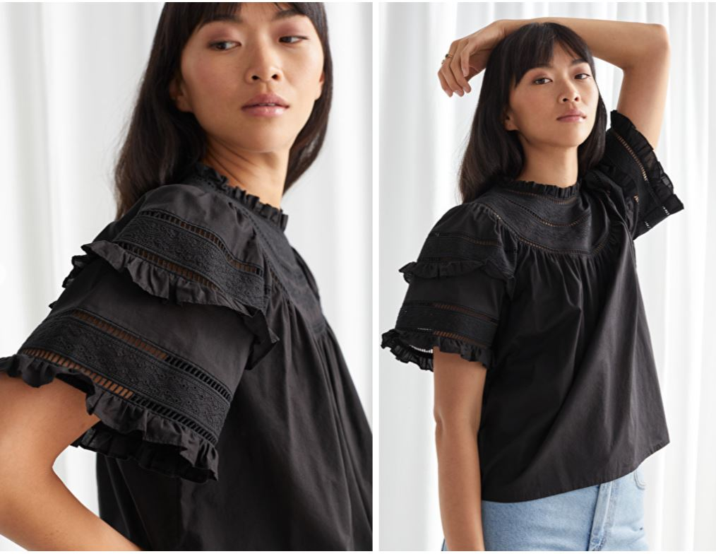 & Other Stories Ruffled A-line Embroidery Blouse £55