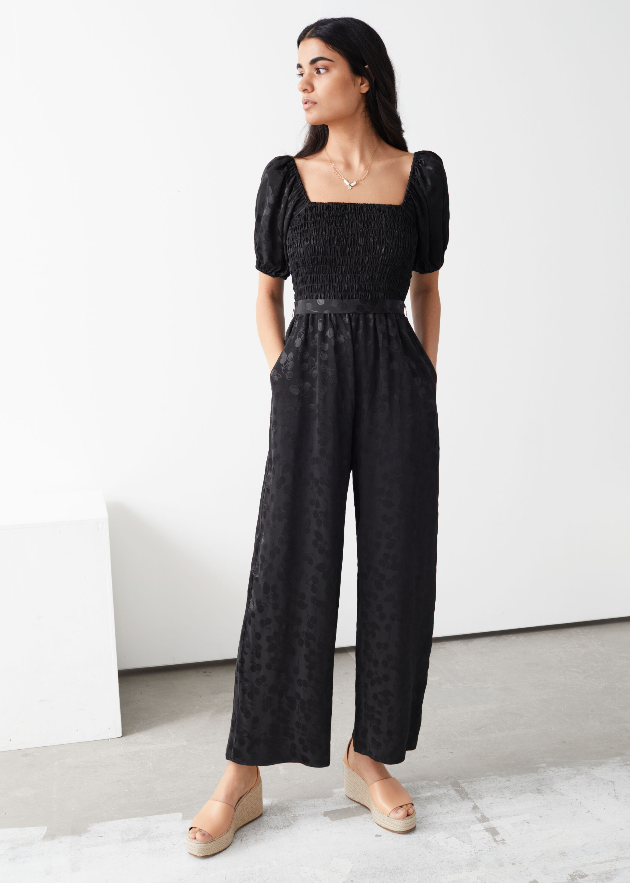 & Other Stories Smocked Jacquard Jumpsuit £49, was £95