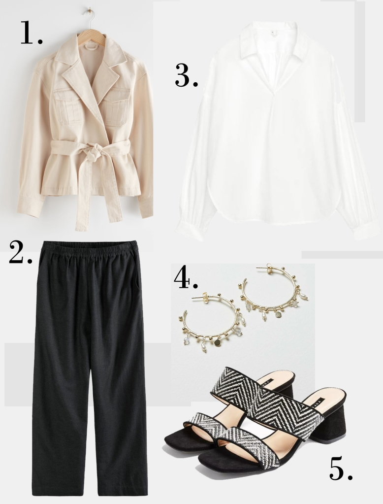 & Other Stories Belted Denim Wrap Jacket £85 Hush Eugenia Wide Leg Culottes £65 Arket Voluminous Blouse £55 Oliver Bonas Chamba Pearl & Labradorite Gold Plated Hoop Earrings £45  Topshop Dina Black & White Block Mules £15