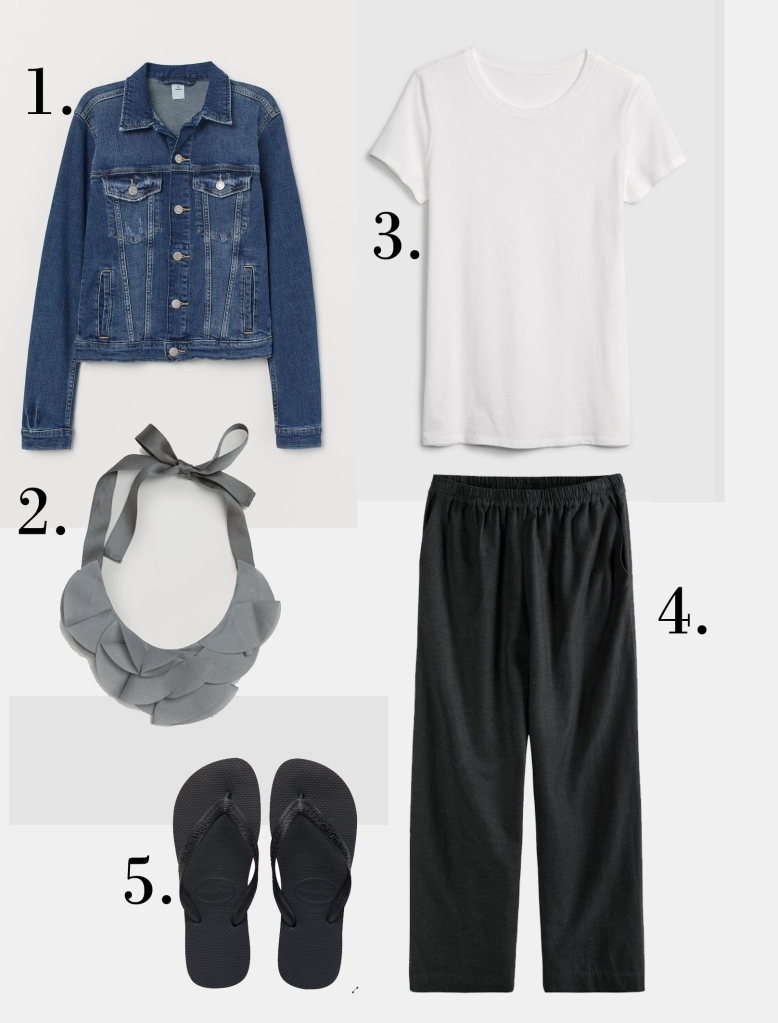 H&M Denim jacket £29.99 Cos - ruffled material necklace £39.99 Gap - white crew neck t-shirt £12.95 Hush Eugenia Wide Leg Culottes £65 The Flopstore Havaianas £11.10