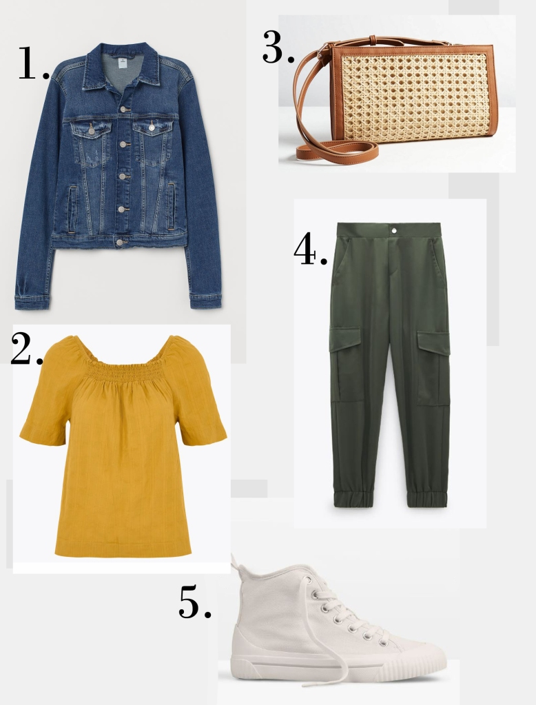 H&M Denim jacket £29.99 M&S Pure Cotton Square Neck Blouse £25 Oliver Bonas Brielle Rattan Wrap Brown Clutch Bag £36 Zara Cargo Trousers with Pockets £25.99 Hush Skye High Tops £55