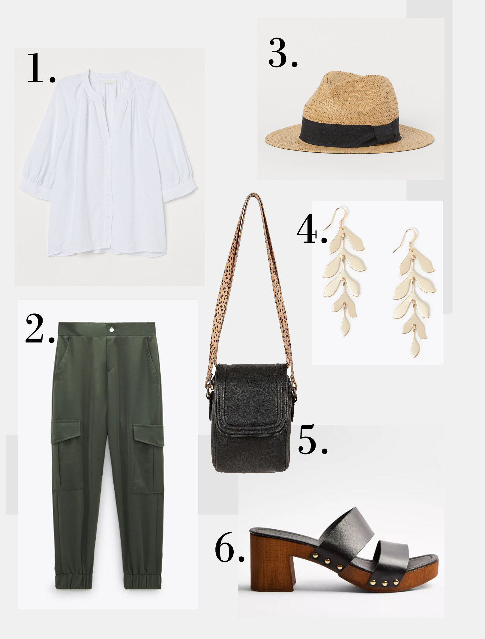 H&M Pattern Weave Blouse £12.99 Zara Cargo Trousers with Pockets £25.99 H&M Straw hat with grosgrain ribbon £9.99 M&S Cascading Leaf Drop Earrings £12.50 Oliver Bonas Nomi Cheetah Print Black Mini Crossbody bag £32 Topshop Vida Black Leather Clogs £36.79
