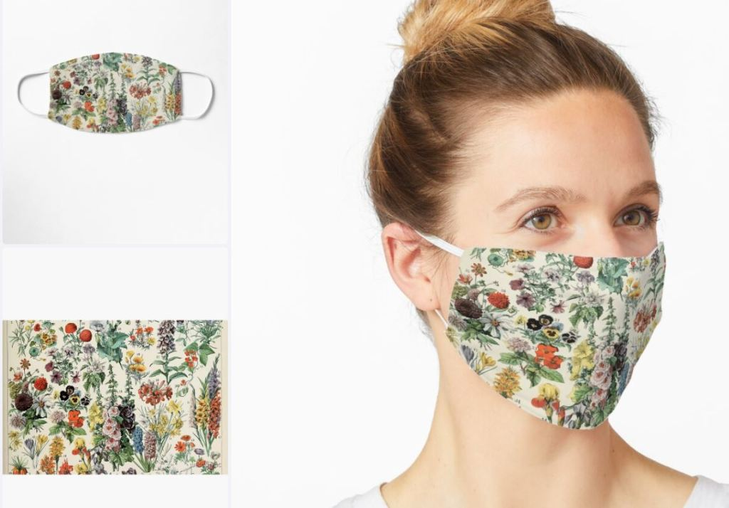 Red Bubble Adolphe Millot Fleurs A Mask £11.49