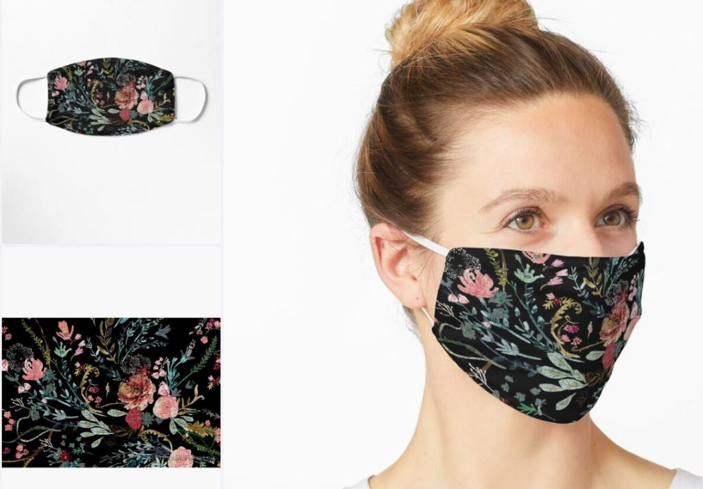 Red Bubble Midnight Floral mask £11.98