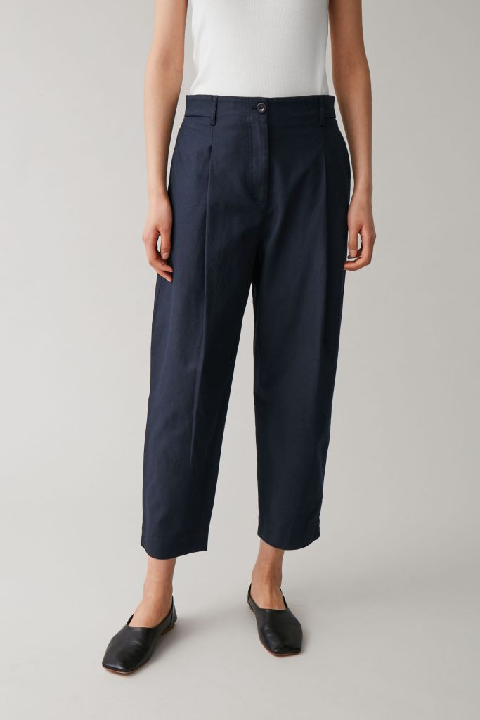 Cos Rounded Cotton trousers in Blue £69