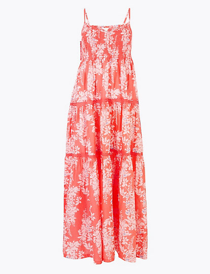 M&S pure cotton floral print maxi slip dress £45
