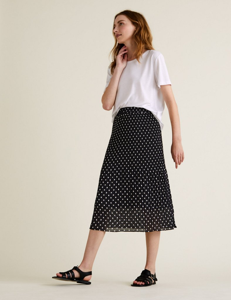 M&S spot plisse midi fit & flare skirt £39.50
