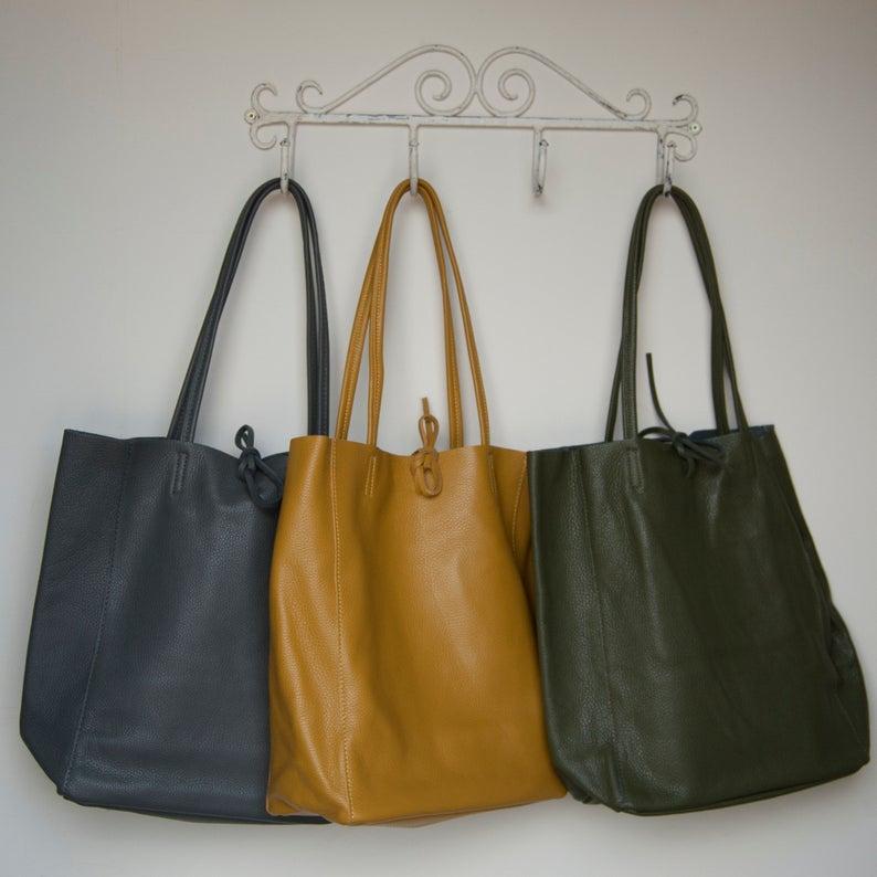 Connie & Pearl Mustard Tote Leather Shopper £55