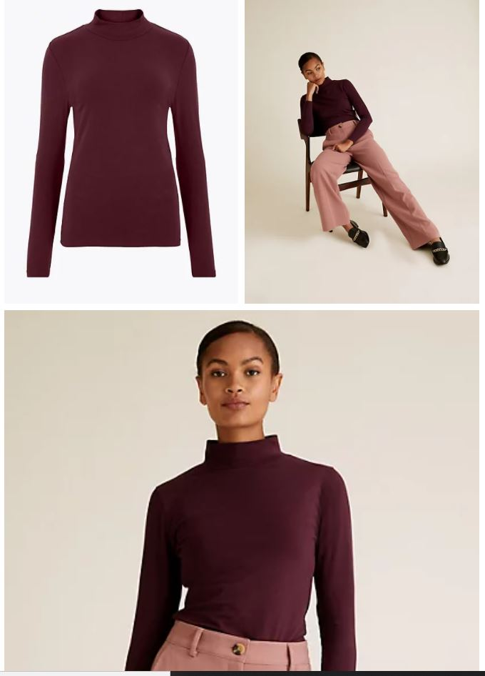 M&S Funnel Neck Fitted Long Sleeve Top £9.50