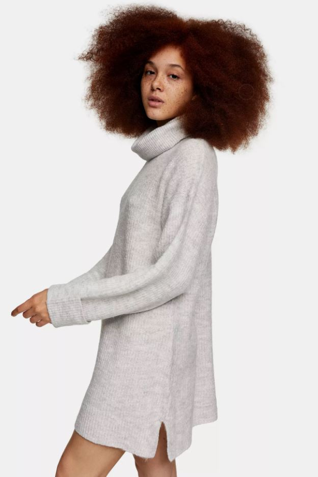 Topshop Grey Marl Plaited Funnel Knitted Dress £29.99