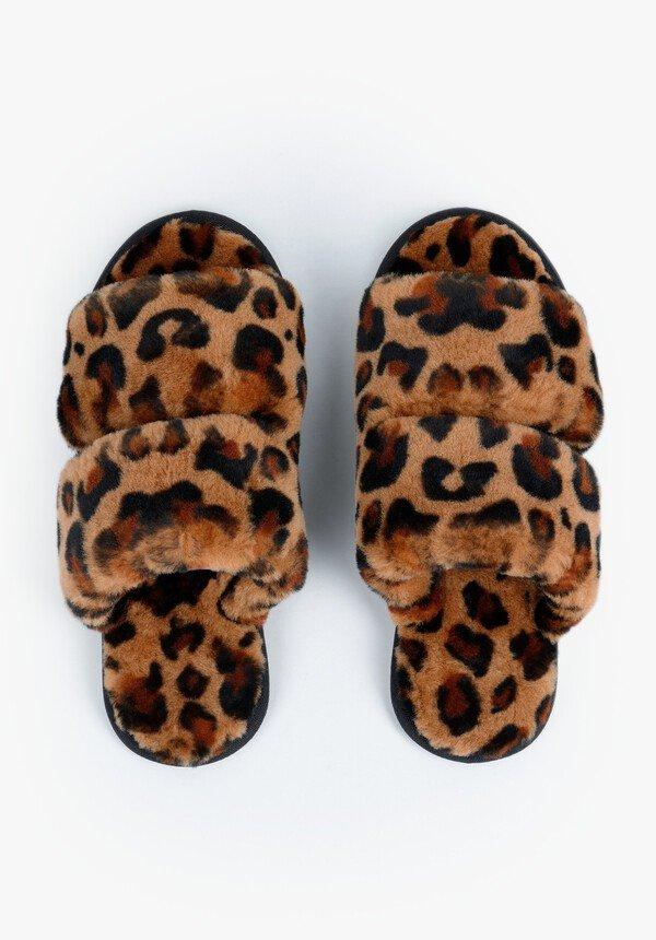 Hush Arundal Shearling Slippers Leopard £55