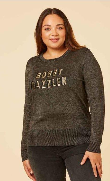 Joanie Clothing Bobby Dazzler Seaquin Slogan Jumper £45
