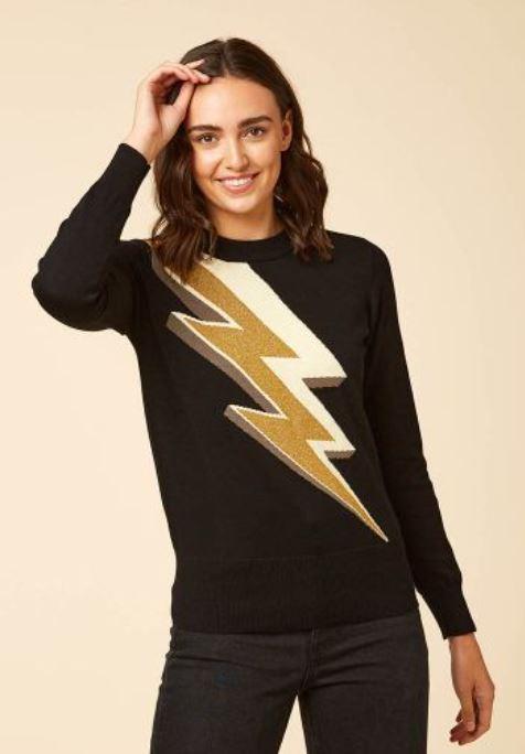 Joanie Clothing Ziggy Metallic Gold Lightening Bolt Intarisa Jumper £45