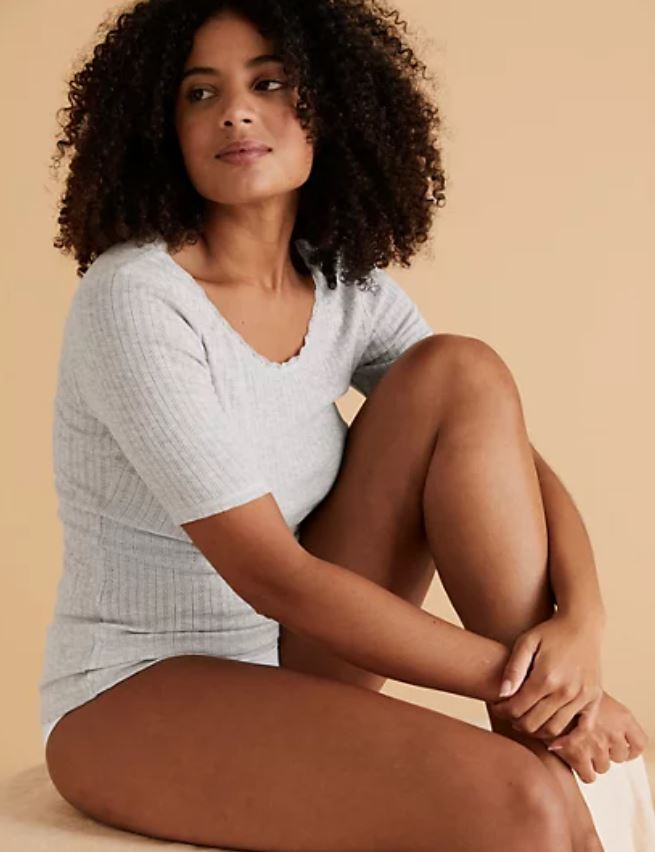 M&S 2pk Thermal Pointelle Top £19.50