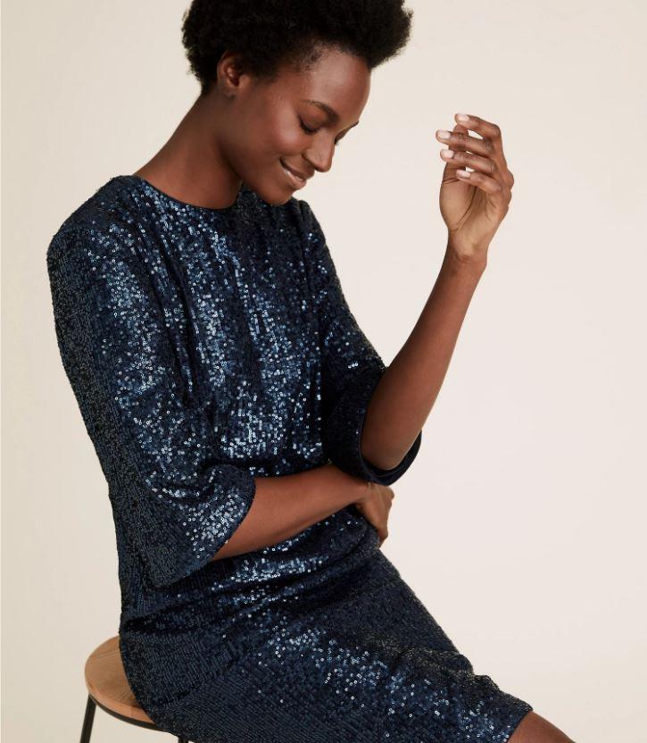 M&S Sequin Knee length shift dress £49