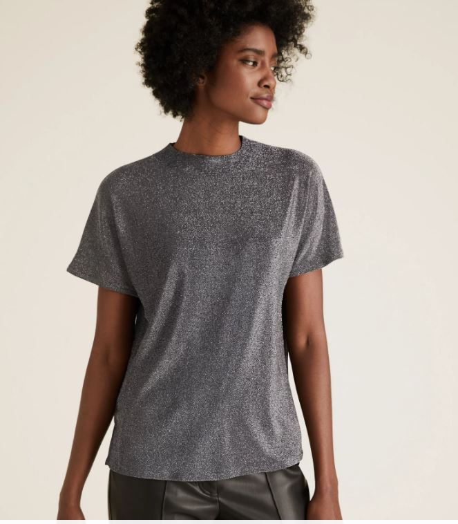 M&S Shimmer high neck relaxed short sleeve top £19.50