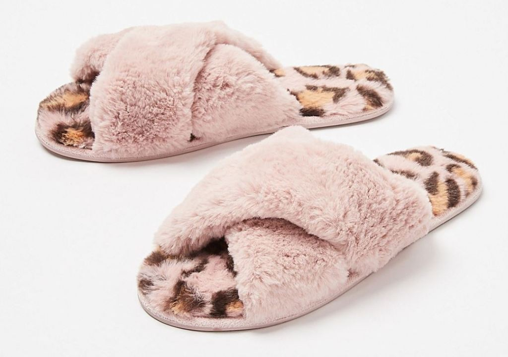Oliver Bonas Animal Print Crossover Faux Fur Slippers £26