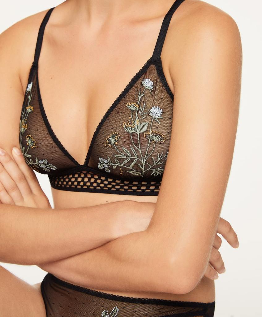 Oysho Non wired embroidered bra £22.99