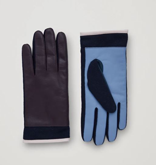 Cos Colour Block Leather Gloves £55