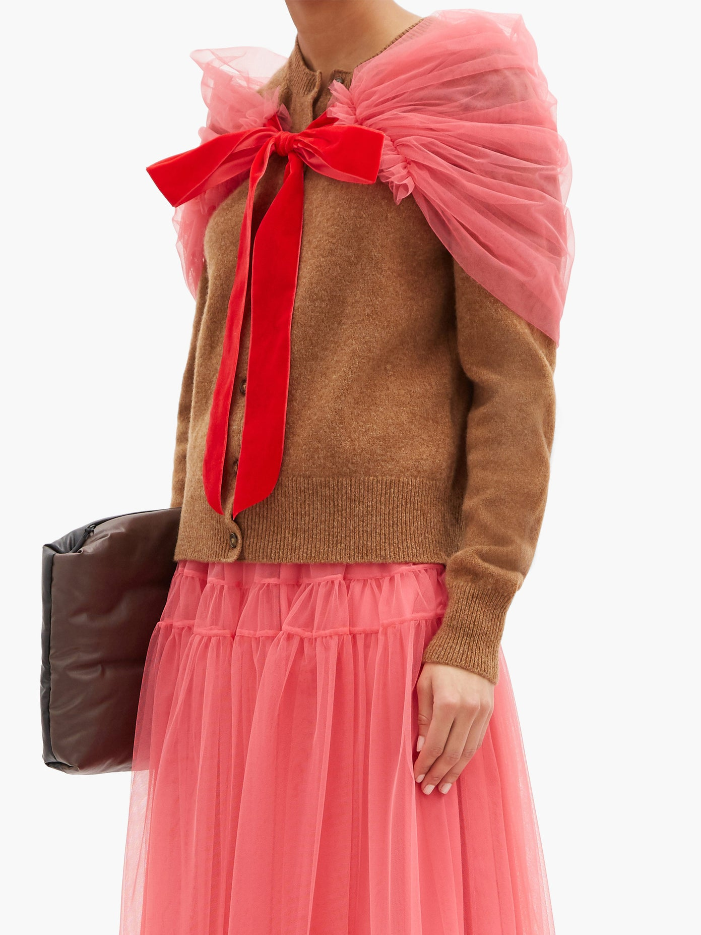 Molly Goddard at Matches Joelle tulle-shawl wool cardigan £680