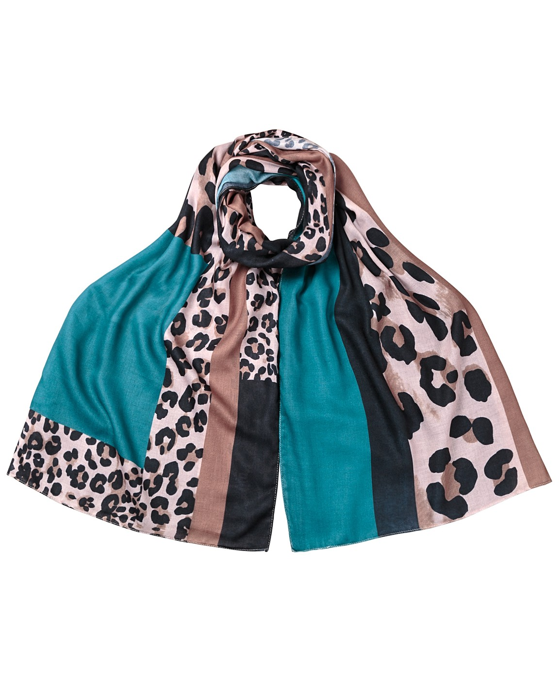 Oliver Bonas Animal Print & Teal Colour Block Scarf Online Only £25