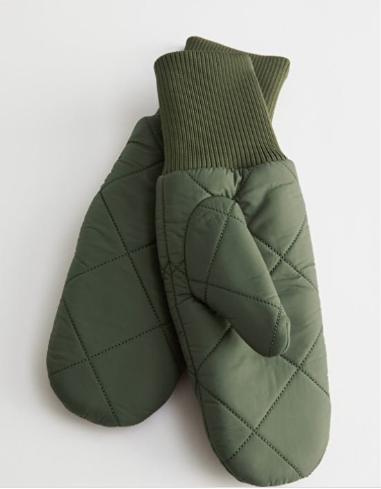 & Other Stories Diamond Quilted Mitten Gloves £45
