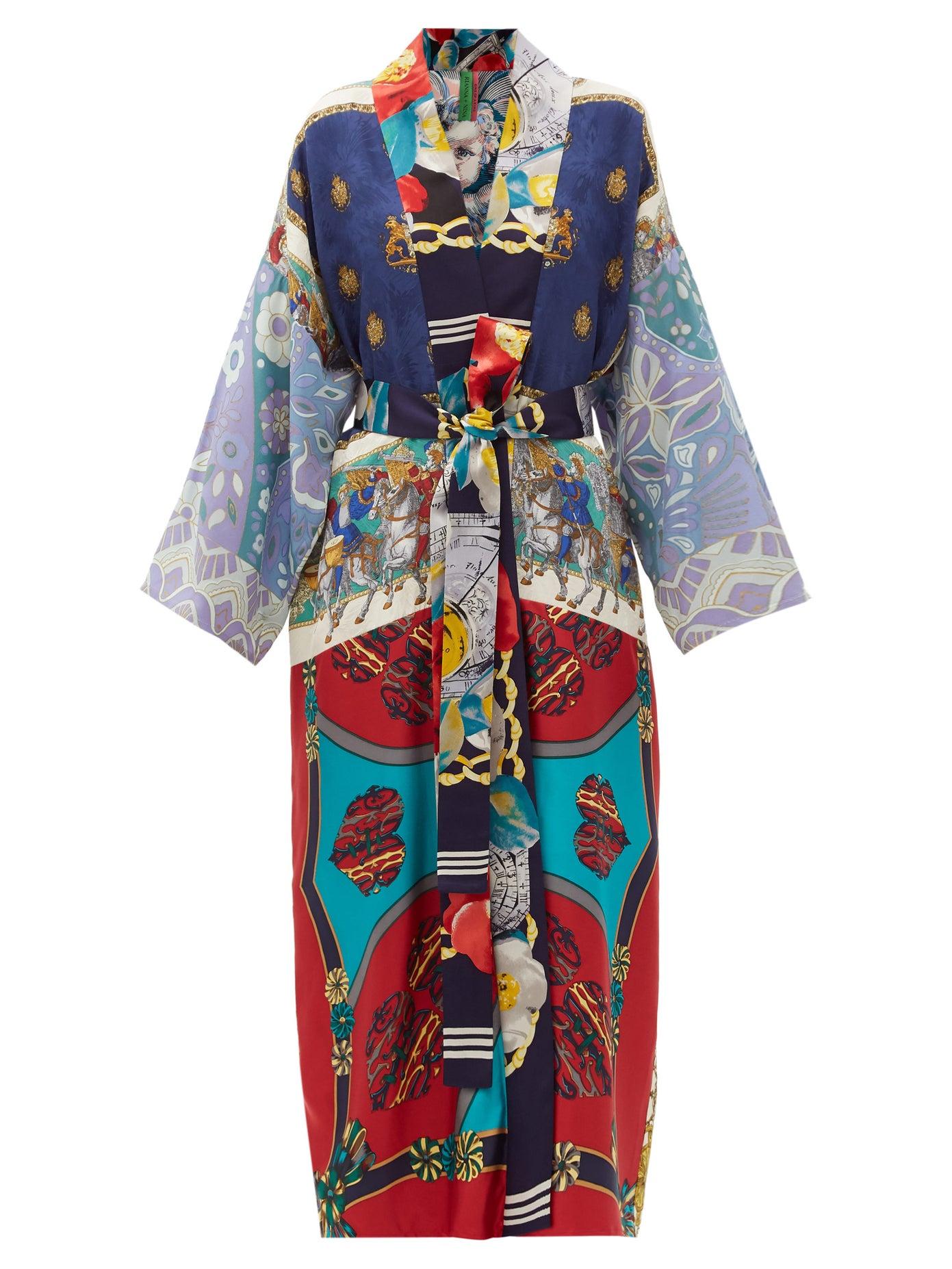 Rianna + Nina Vintage shawl-lapel patchwork silk coat £3,180