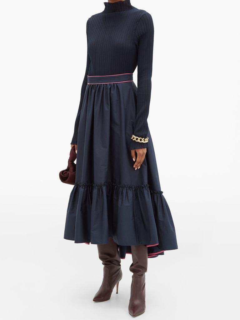 Roksanda Marianna ruffled-hem cotton-poplin skirt £650