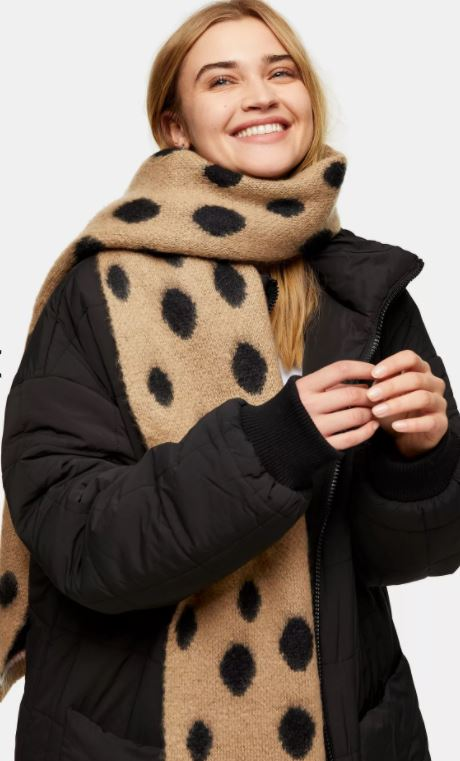 Topshop Tan Brushed Spot Scarf £15.99, was £19.99