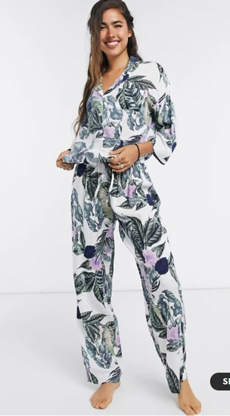 Asos Design Tropical long sleeve shirt and trouser pyjama set in green & purple £30