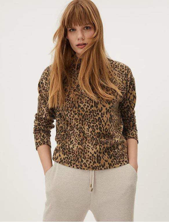 M&S Animal Print High Neck Long Sleeve top £19.50
