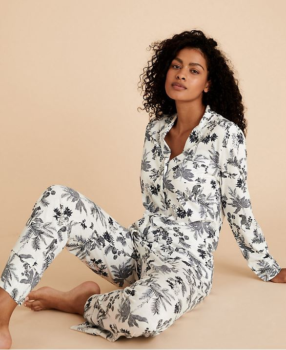 M&S Printed Cotton Modal Floral Pyjam set £30