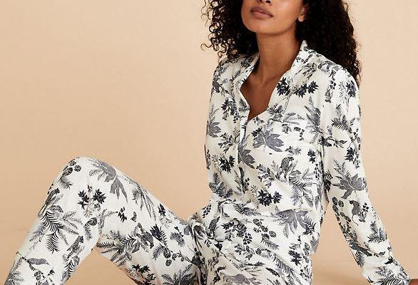 M&S Printed Cotton Modal Floral Pyjam set £30