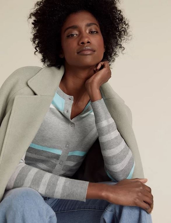 M&S Striped Crew Neck Cardigan £17.50