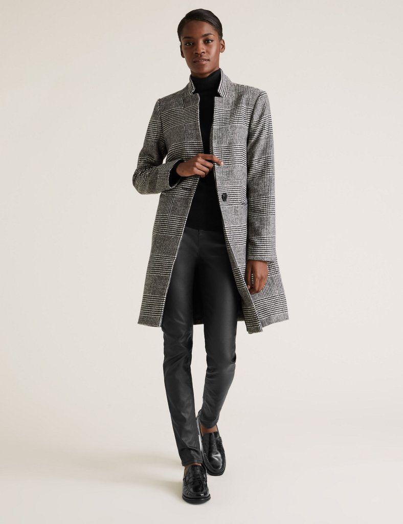 M&S Checked Notch Neck Coat £41.30