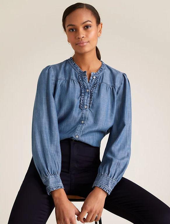 M&S Denim ruffle blouse £35