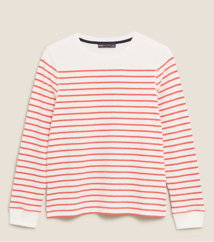 M&S Pure Cotton Striped Crew Neck Top £13.65