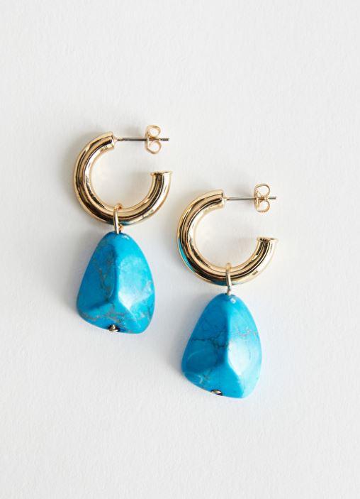 & Other Stories Stone Pendant Open Hoop Earrings £23