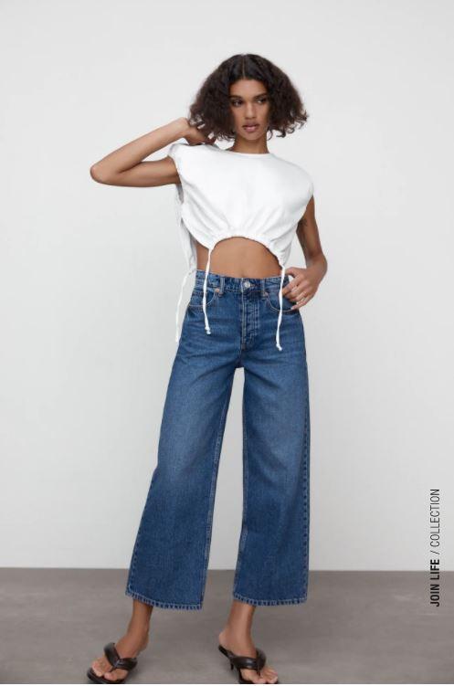 Zara Hi-Rise Wide-leg Cropped Jeans £27.99
