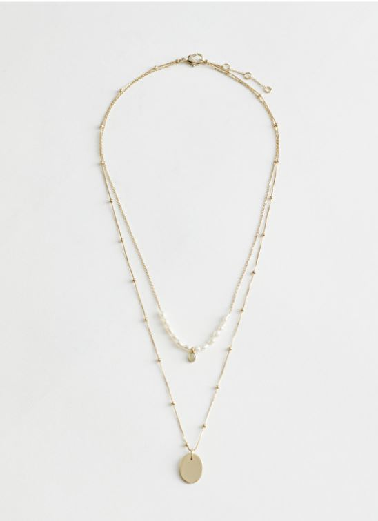 & Other Stories Duo Chain Pearl Pendant Necklace £23