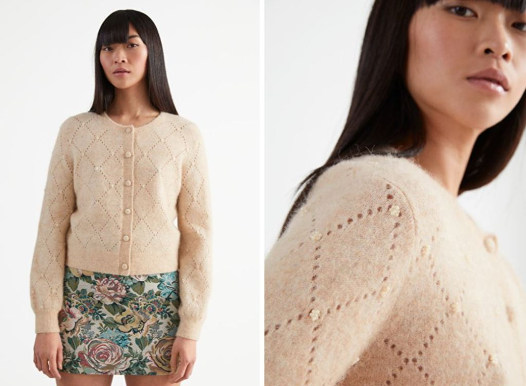 & Other Stories Pointelle Knit Floral Embroidery cardigan £85