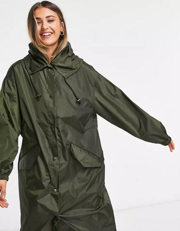ASOS DESIGN rain parka in khaki £25