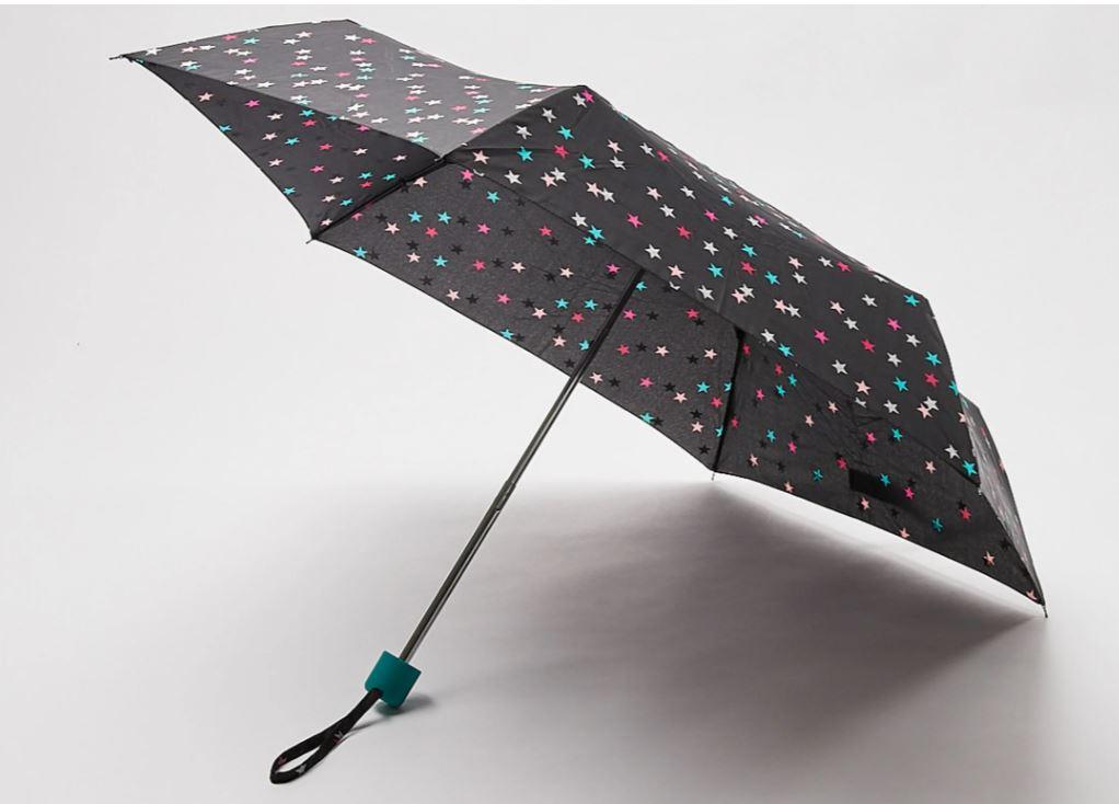 Oliver Bonas Foil Star Print Black Umbrella, £10, was £20
